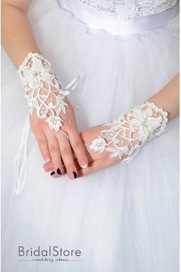P04 короткие кружевные свадебные перчатки