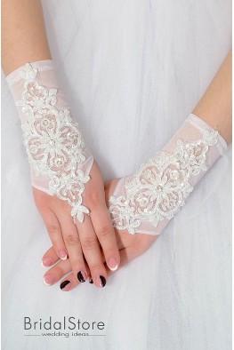 P05 короткие вышитые свадебные перчатки