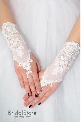 P06 кружевные короткие свадебные перчатки