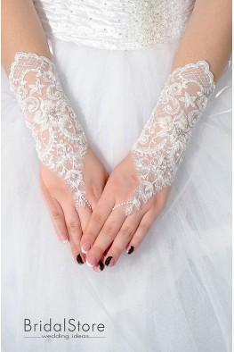 P07 короткие свадебные перчатки с жемчугом