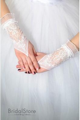 P08 короткие свадебные перчатки с жемчугом