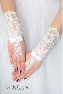 P09 короткие свадебные перчатки с бантиком