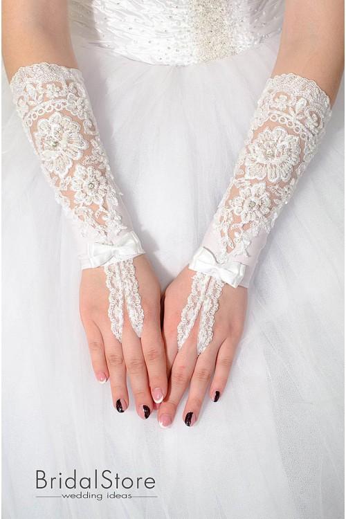 P10 кружевные свадебные перчатки
