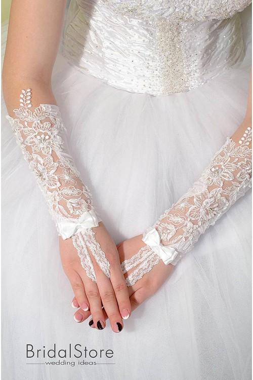 P11 кружевные свадебные перчатки