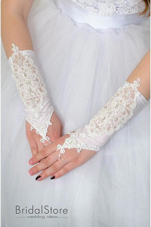 P14 свадебные перчатки со стразами и жемчугом