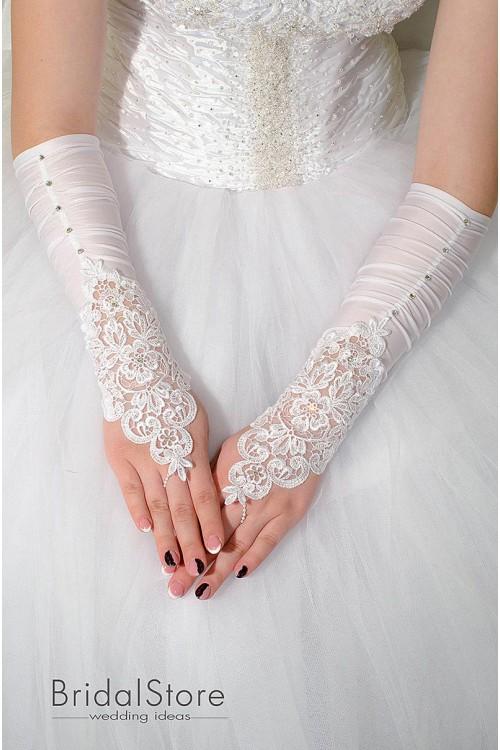 P21 свадебные перчатки со стразами