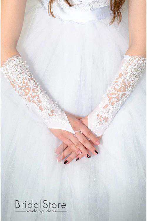 P22 свадебные перчатки со стразами и кружевом