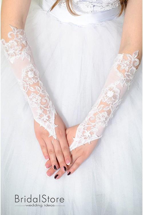 P23 свадебные перчатки с большими цветами