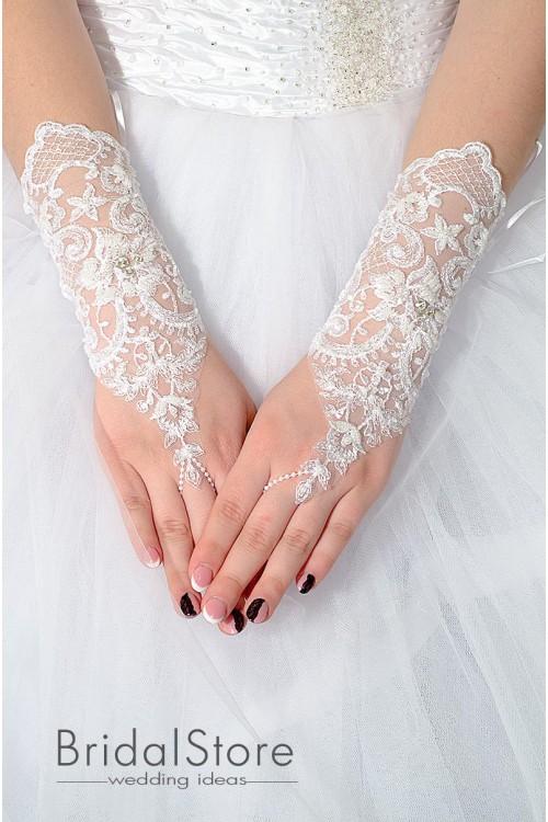 P26 элегантные кружевные свадебные перчатки