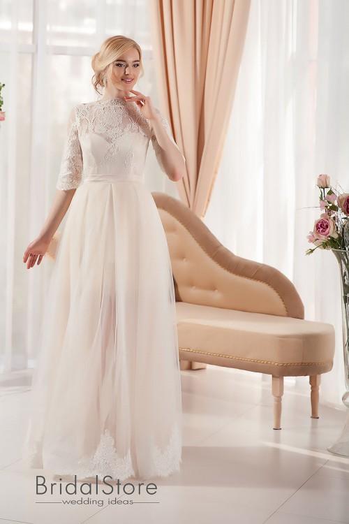 Lara - Короткое кружевное свадебное платье, со съемной юбкой