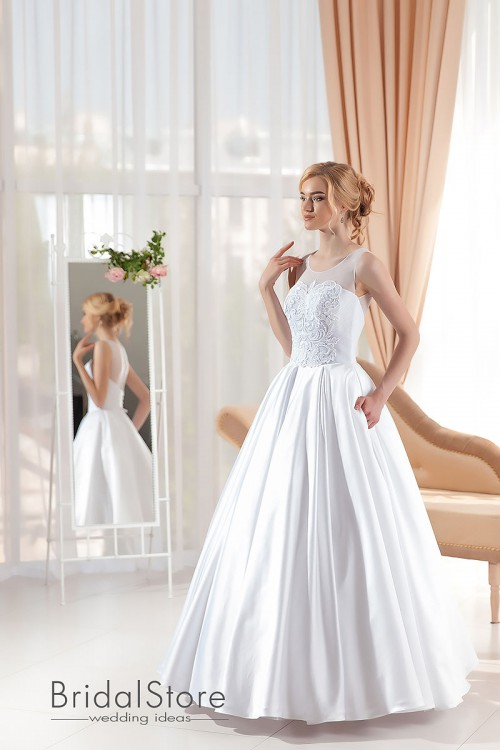 Luna - атласное свадебное платье на бретелях
