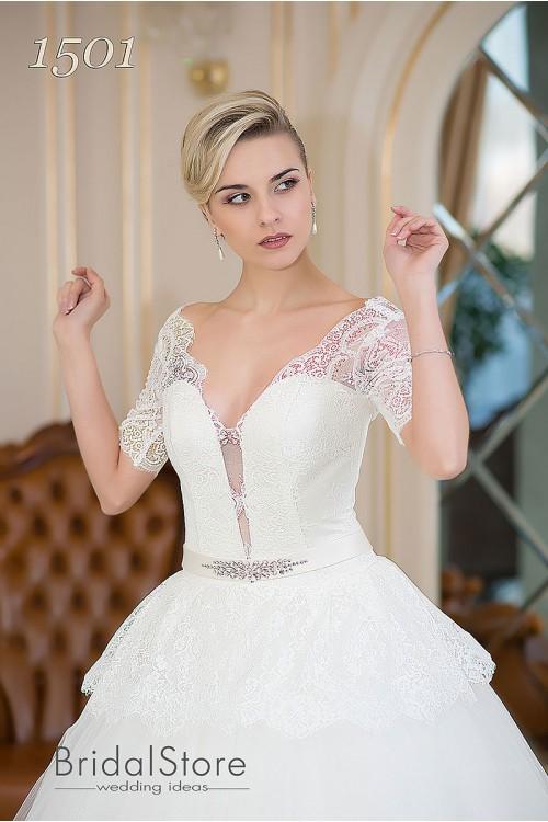 Ellie -  пышное свадебное платье с кружевными рукавами