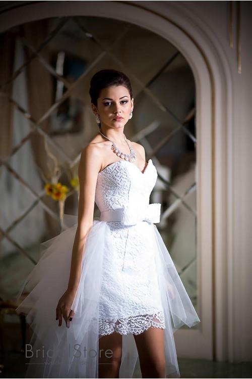 Leia - короткое свадебное платье со съемной юбкой