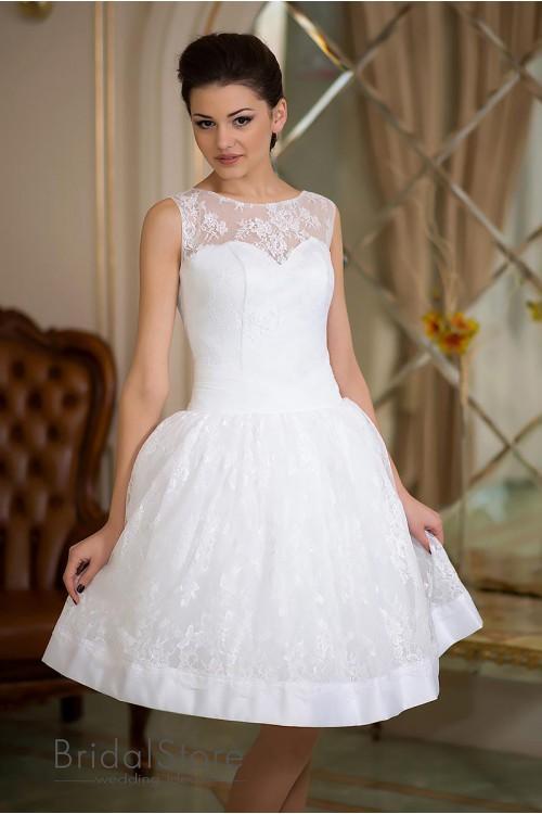 Paris - короткое кружевное свадебное платье