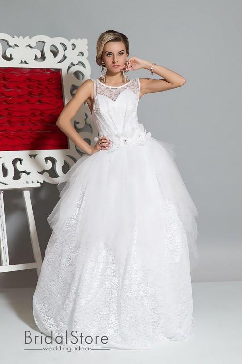 Aurora - не пышное свадебное платье с кружевной юбкой